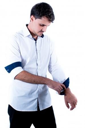 Camisa Masculina Slim Sumaia Antony, Algodão com elastano e Manga Longa - Branca