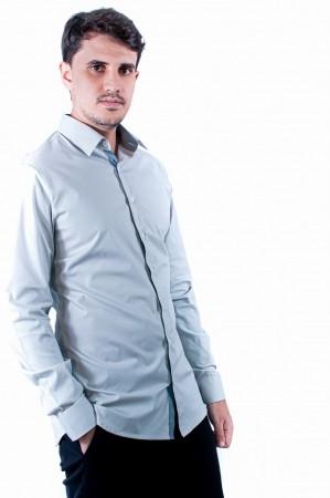 Camisa Masculina Slim Sumaia Antony, Algodão com elastano e Manga Longa - Cinza