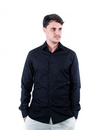 Camisa Masculina Slim Sumaia Antony, Algodão com elastano e Manga Longa - Preta