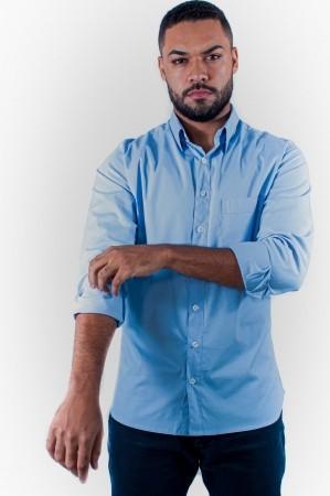 Camisa Masculina Tradicional Sumaia Fred, Algodão com elastano, Manga Longa e Bolso - Azul Claro