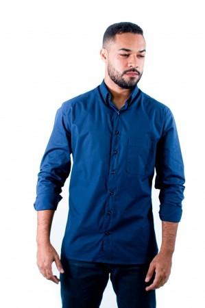Camisa Masculina Tradicional Sumaia Fred, Algodão com elastano, Manga Longa e Bolso - Azul Marinho