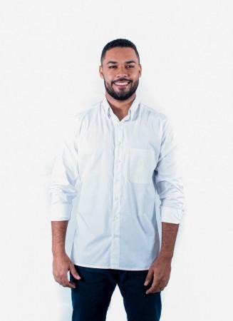 Camisa Masculina Tradicional Sumaia Fred, Algodão com elastano, Manga Longa e Bolso - Branca
