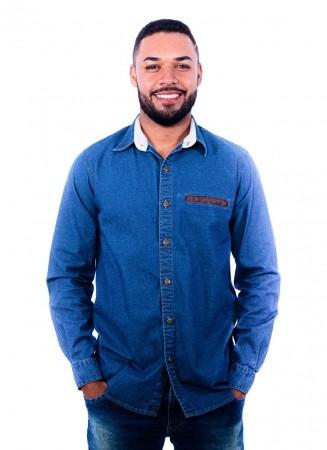 Camisa Jeans Masculina Sumaia Felipe - Lavagem Escura