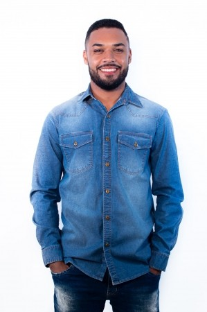 Camisa Jeans Masculina Sumaia Renan - Lavagem Clara