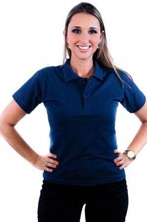Camisa Polo Feminina Sumaia Antonella - Azul Marinho