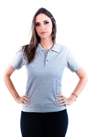 Camisa Polo Feminina Sumaia Antonella - Cinza Mescla