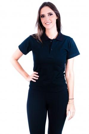 Camisa Polo Feminina Sumaia Antonella - Preta
