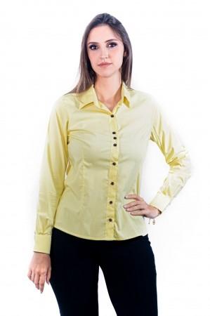 Camisa Feminina Sumaia Catharina, Algodão com elastano e Manga Longa - Amarela