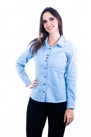 Camisa Feminina Sumaia Catharina, Algodão com elastano e Manga Longa - Azul Claro