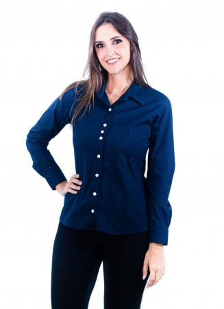 Camisa Feminina Sumaia Catharina, Algodão com elastano e Manga Longa - Azul Marinho