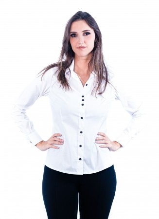 Camisa Feminina Sumaia Catharina, Algodão com elastano e Manga Longa - Branca