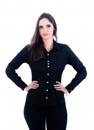 Camisa Feminina Sumaia Catharina, Algodão com elastano e Manga Longa - Preta