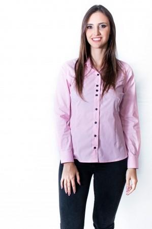 Camisa Feminina Sumaia Catharina, Algodão com elastano e Manga Longa - Rosa