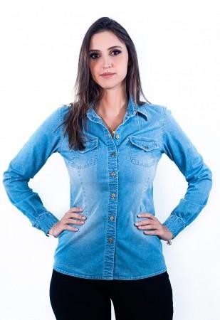 Camisa Jeans Feminina Sumaia Heloá - Lavagem clara