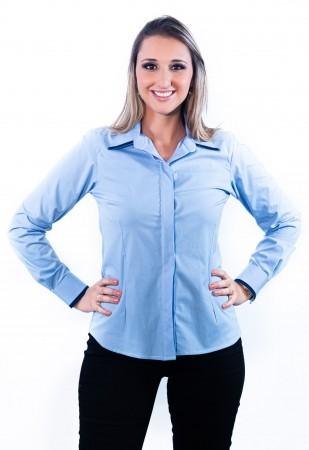Camisa Feminina Sumaia Mariah, Algodão com elastano, Manga Longa e Abotoamento Escondido - Azul Claro