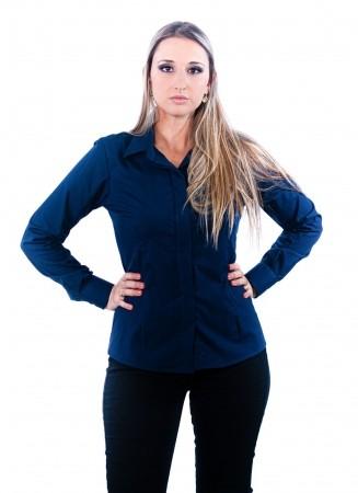 Camisa Feminina Sumaia Mariah, Algodão com elastano, Manga Longa e Abotoamento Escondido - Azul Marinho