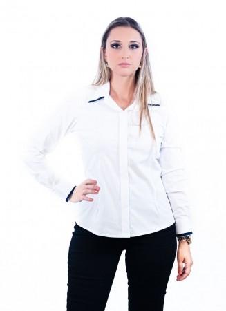 Camisa Feminina Sumaia Mariah, Algodão com elastano, Manga Longa e Abotoamento Escondido - Branca