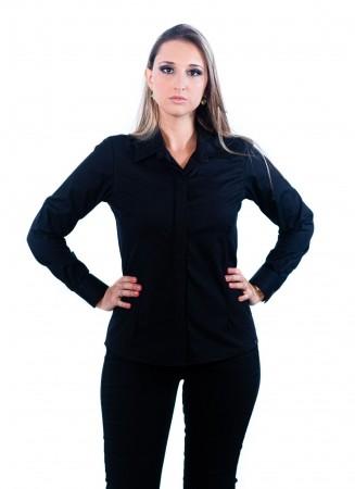 Camisa Feminina Sumaia Mariah, Algodão com elastano, Manga Longa e Abotoamento Escondido - Preto