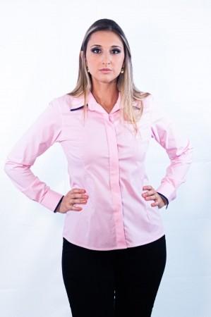 Camisa Feminina Sumaia Mariah, Algodão com elastano, Manga Longa e Abotoamento Escondido - Rosa