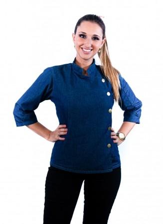 Dolmã Feminina Sumaia Geórgina com Botão de Pressão Para Profissionais Da Cozinha- Jeans