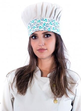 Mestre Cuca Feminino Sumaia Yasmin, Para Profissionais da Cozinha -  Bege + Floral Verde-Azul
