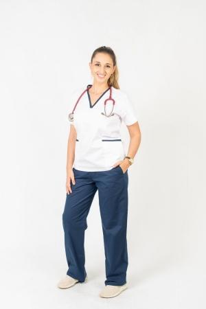 Scrub Feminino Sumaia Aurora Para Profissionais Da Saúde - Azul Marinho + Branco