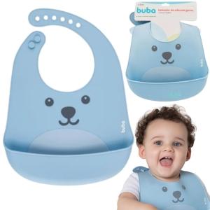 Babador De Silicone Bebê Impermeável Blw Migalhas Gumy Azul
