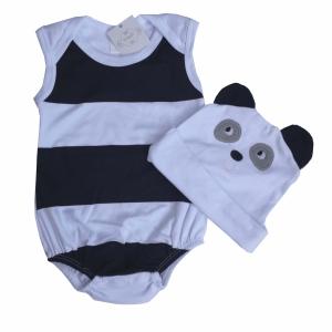 Body Regata Bebê Menino com Touca Branco e Preto Panda Pirlipat