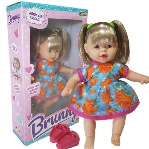 Boneca Bebê Menina Brunny em Vinil e Vem Com Sapatinhos