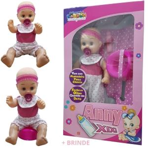 Boneca Que Faz Xixi e Fecha os Olhinhos  Bebê Menina Anny