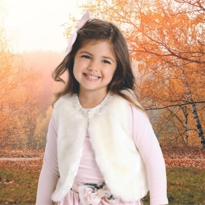 Colete de Pele Off White de Pelo Infantil Fashion Outono Inverno Petit Cherie
