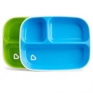 Conjunto de Pratos com Divisórias Azul e Verde