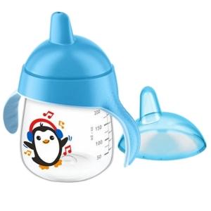 Copo De Treinamento Avent Pinguim 260ml Antivazamento Bico Rígido Azul
