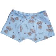 Cueca Boxer Infantil Ursinho Azul em Malha de Algodão Pirlipat