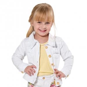 Jaqueta Jeans Branca com Botões Dourados