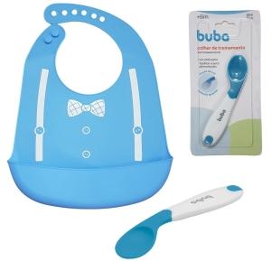 Kit Alimentação Bebê BLW Babador E Colher Auto Alimentação Azul