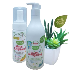 Kit Limpa Mamadeiras e Higienizador Para Mãos Sem Álcool Bioclub Baby