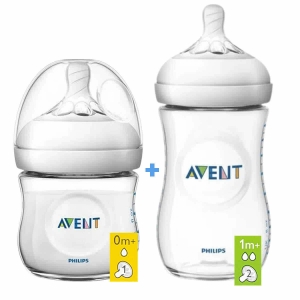 Kit Mamadeiras Pétala Anti Cólica 125ml / 260ml Transparente Philips Avent