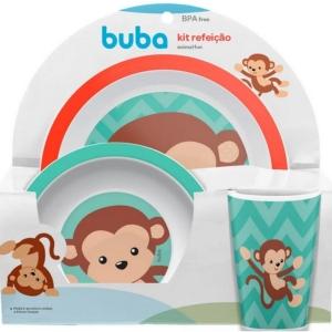 Kit Refeição Animal Fun Macaco Prato Tigela Copo Menino Buba