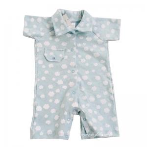 Macacão Curto Bebê Menino Gola Polo Nuvem Azul Pirlipat