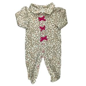 Macacão Longo Bebê Menina em Malha de Algodão Oncinha Bege com Lacinhos Pink Pirlipat