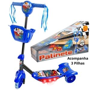 Patinete Infantil 3 Rodas Com Cesta Som Luz e Pilhas
