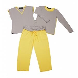 Pijama Sanne Cinza com Amarelo