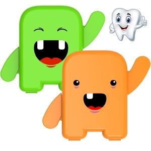 kit 2 Porta Dente De Leite Dentinhos Criança Feliz Laranja e Verde