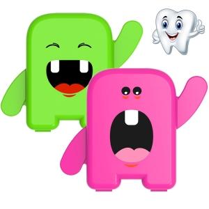 Kit 2 Porta Dente De Leite Dentinhos Criança Feliz Rosa e Verde