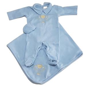 Saída Maternidade Bebê Menino Azul Luxo 3 Peças Pirlipat