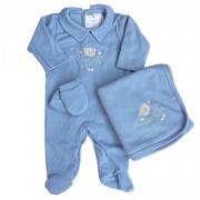 Saída de Maternidade Bebê Menino Azul Luxo 3 Peças Pirlipat