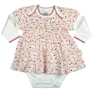 Vestido Body de Malha de Algodão Bebê Menina Florzinha Zig Mundi
