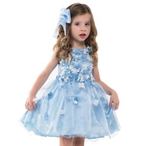 Vestido Festa Azul com Flores
