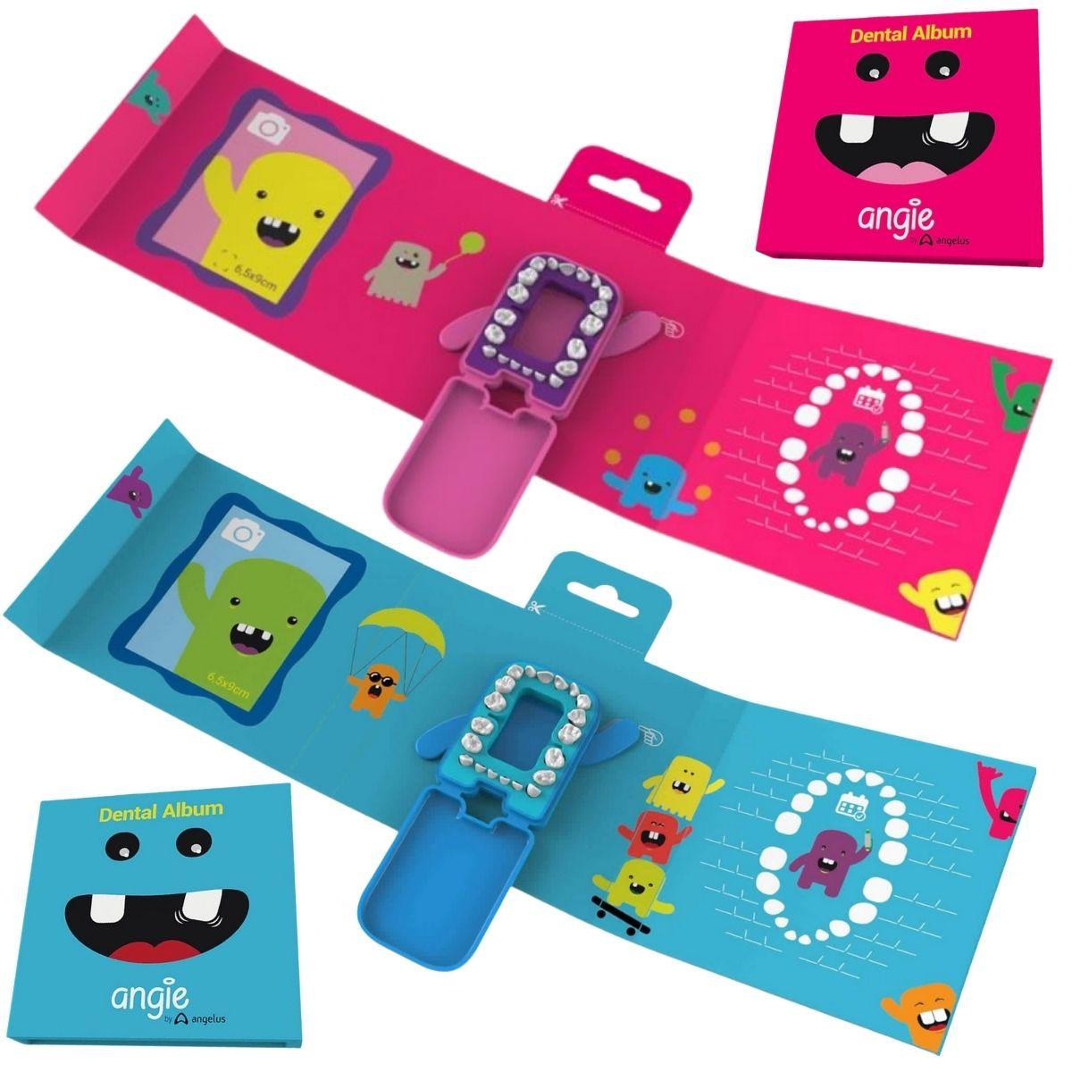 Álbum Porta Dente De Leite Kit Criança Feliz Azul e Rosa (2un)